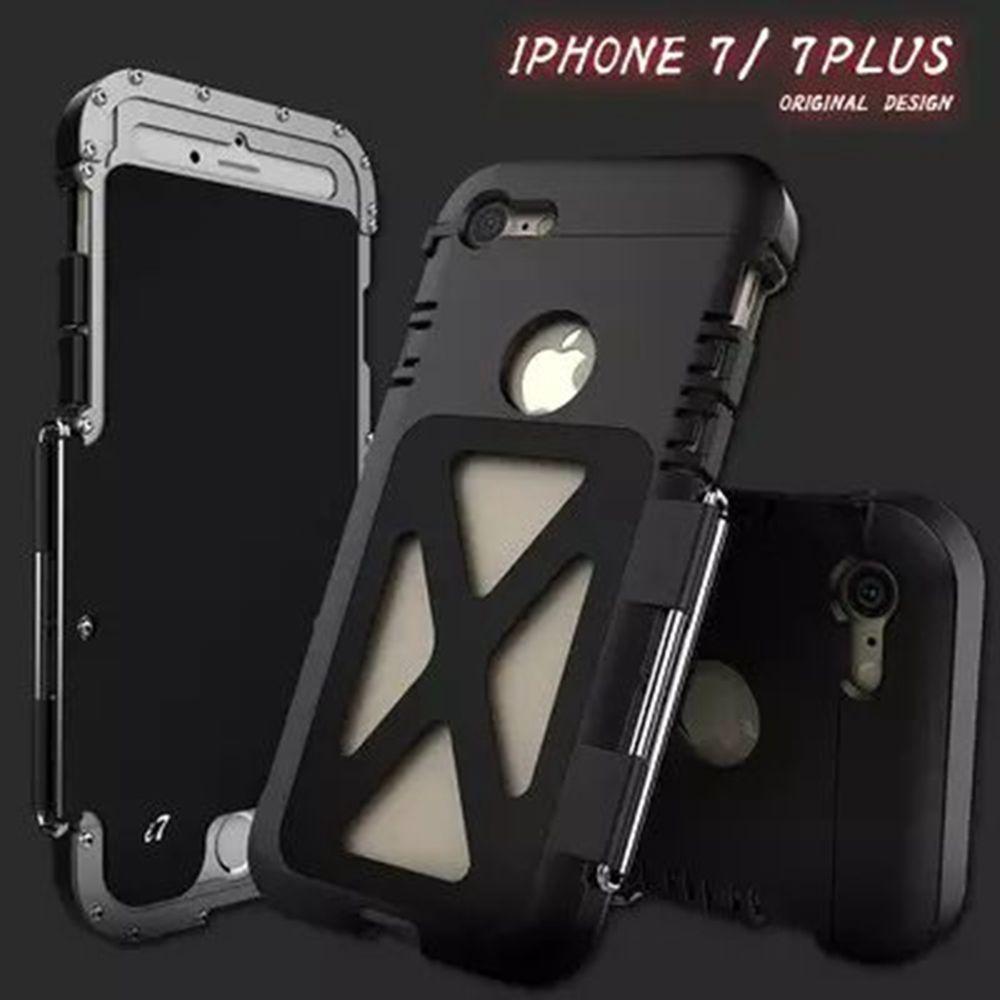 Hombre de Metal Marco de la Aleación A Prueba de Golpes Caso de La Contraportada para el iphone de Apple 7 6 6 s Plus Samsung Galaxy Plus S7 S8 Borde Nota 5 4