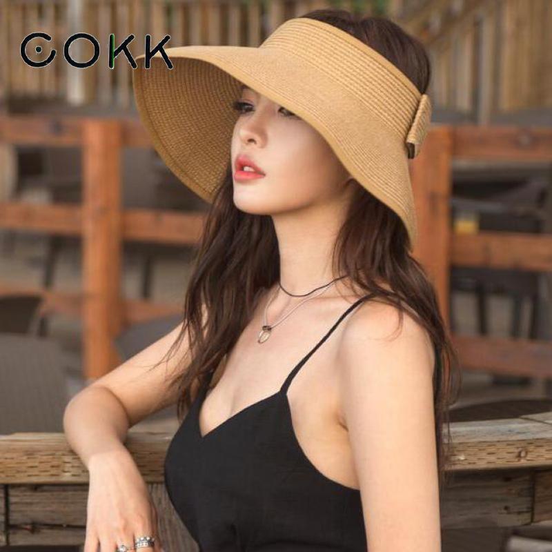 COKK tout nouveau printemps été visières casquette pliable Large Large bord soleil Chapeau plage chapeaux pour femmes Chapeau de paille en gros Chapeau