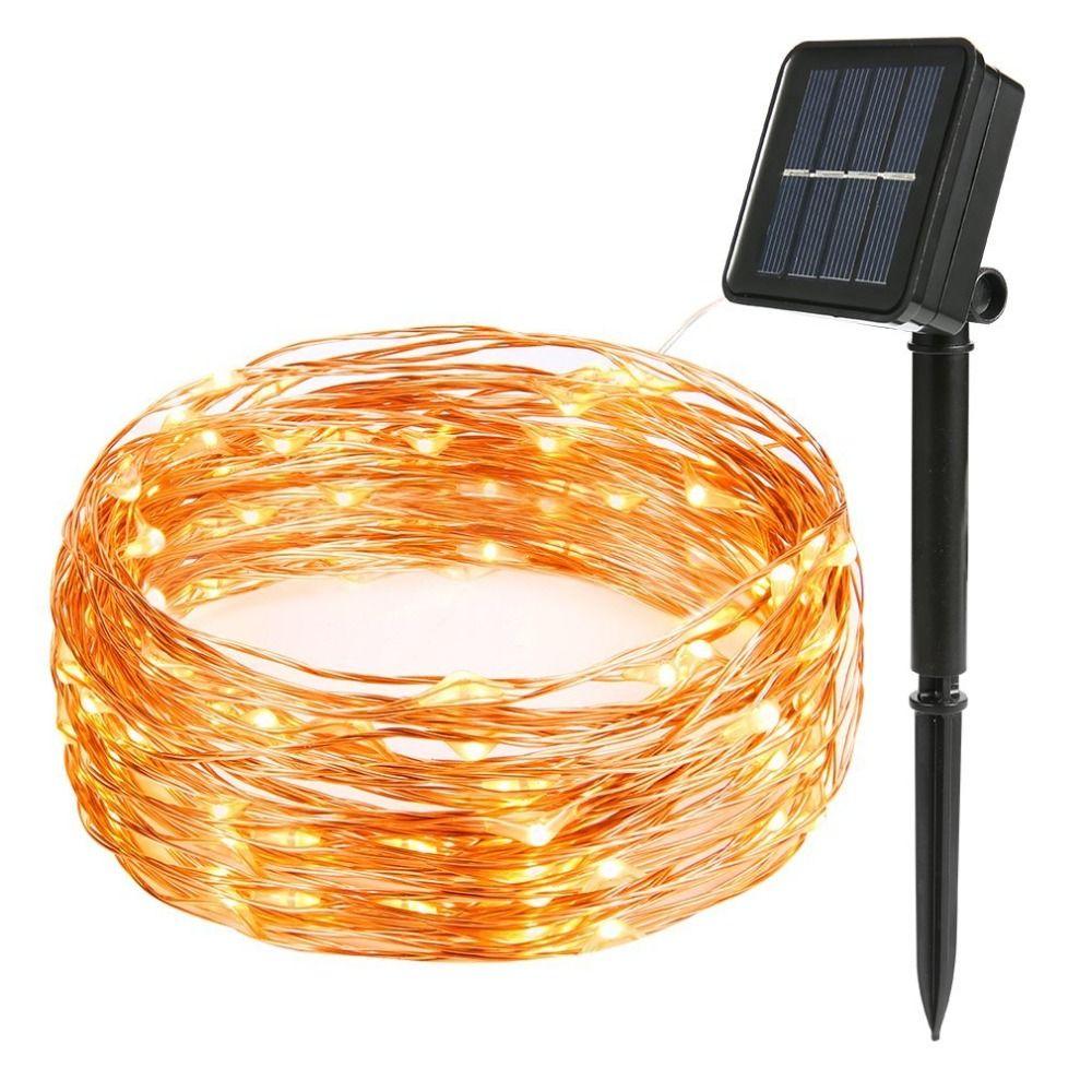 LED solaire chaîne lampe 8mode fée lumière noël lumières 12m 100LED fil de cuivre fête de mariage décor lampe guirlande