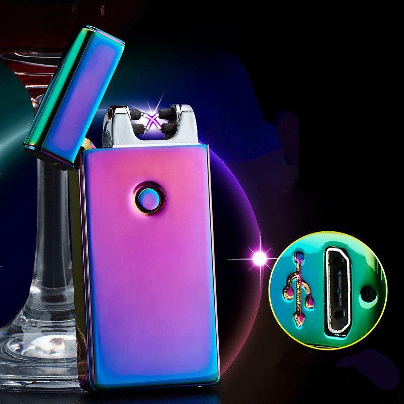Haute Qualité Croix Double Plasma D'arc D'USB D'allumeur D'impulsion Briquet Coupe-Vent En Métal Allume-cigare Électronique Cadeaux-BSG307