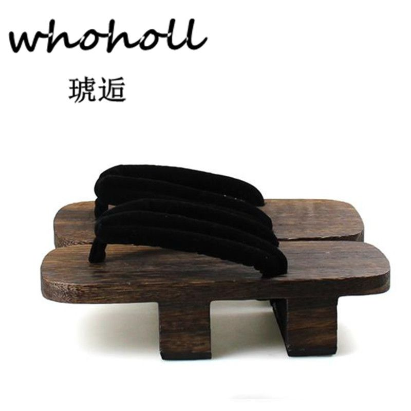 WHOHOLL tongs hommes plate-forme sandales talon japonais Geta sabots en bois paulownia pantoufles anime cosplay chaussures sandalias hombre
