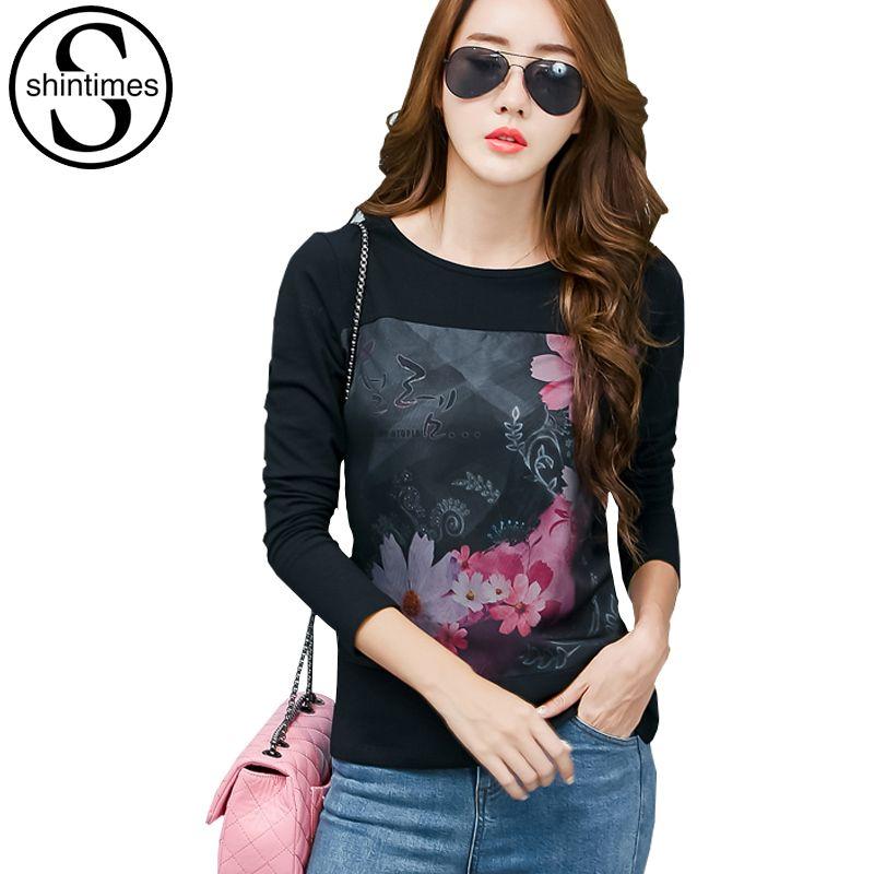 Maille imprimé graphique t-shirts femmes vêtements 2017 t-shirt style décontracté coréen à manches longues t-shirt grande taille femmes vêtements Vetement Femme