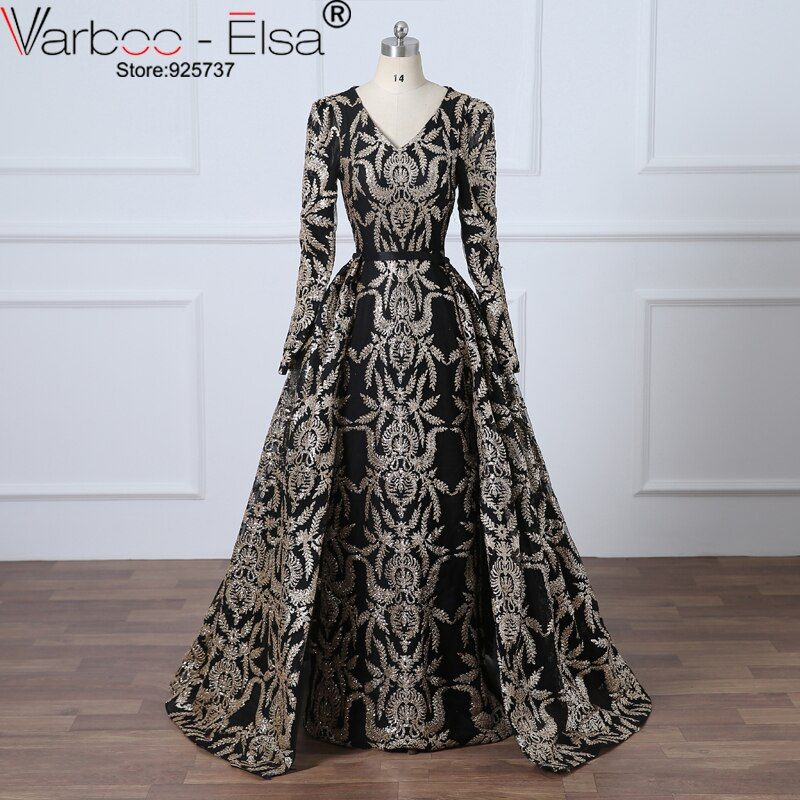VAROO_ELSA Glitter Black Sequined Evening Dress Removable Train Long Prom Dress Saudi Arabia Formal Gown 2018 Muslim Prom Dress