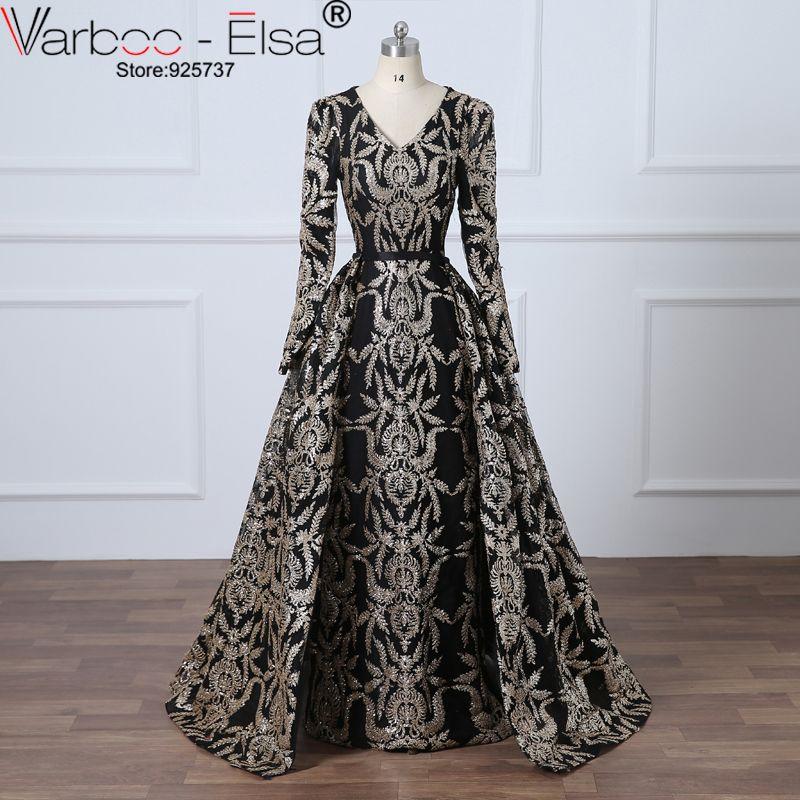 VAROO_ELSA Glitter Black Sequined Evening Dress Removable Train Long Prom Dress Saudi Arabia Formal Gown 2018 Muslim Prom Dress