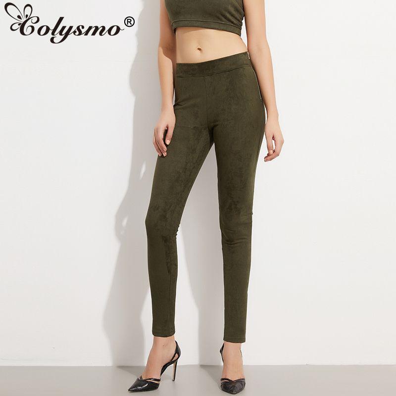 Colysmo bonne élasticité côté fermeture éclair taille haute femmes daim pantalon hiver pantalon automne printemps extensible Skinny serré pantalon crayon
