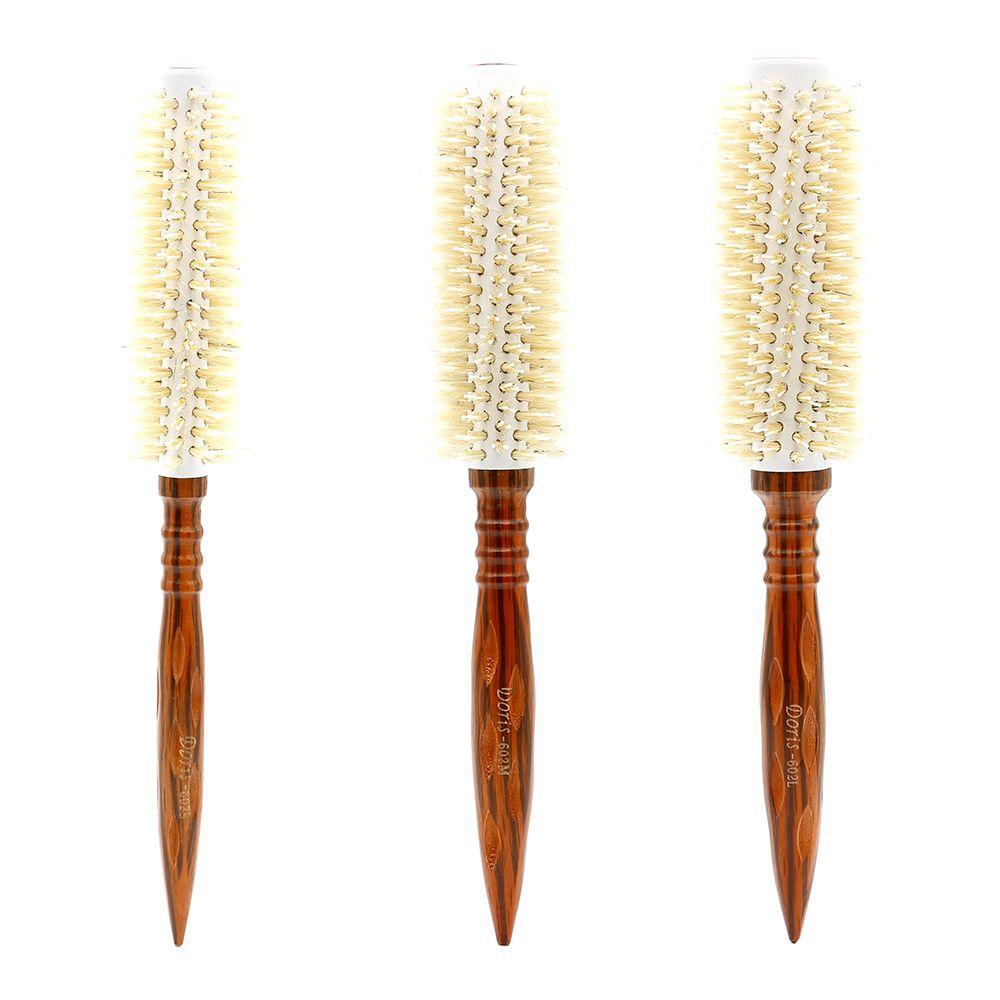 Brosse ronde antistatique en bois résistant à la chaleur avec dents en Nylon et poils blancs 3 tailles peigne rond en bois de coiffure