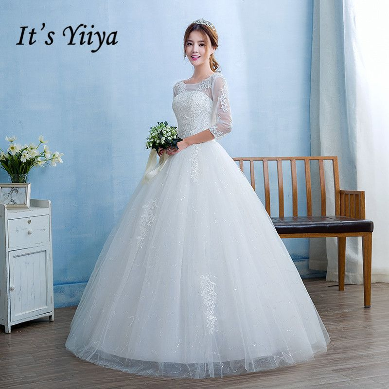 New 2017 Real Photo O-neck Transparent Lace Full Sleeves Wedding Dresses White Princess Bride Frocks Gowns HS232