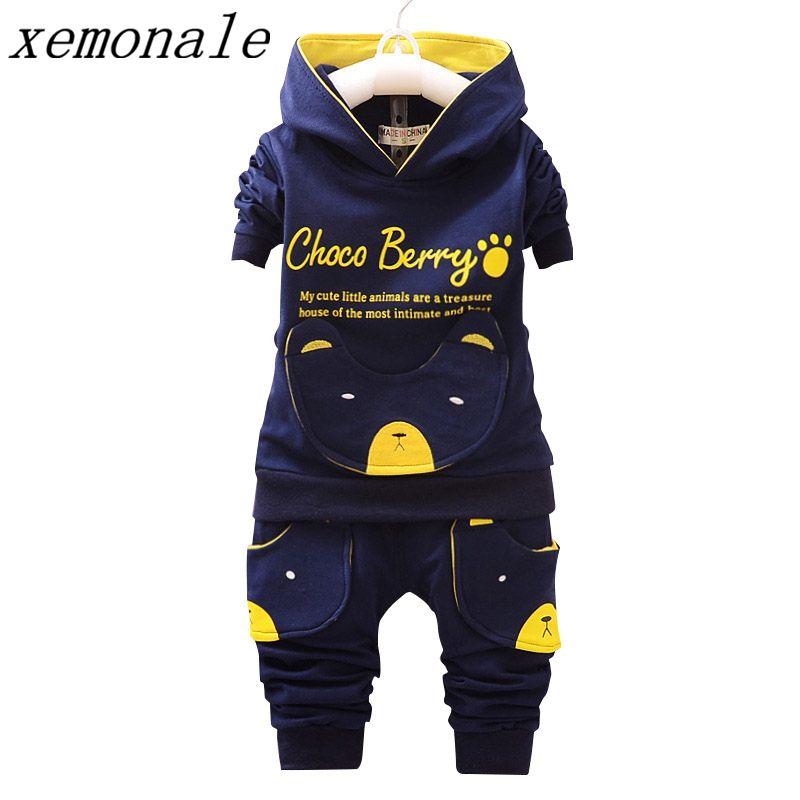 Vêtements pour enfants Sets Manteau À Capuchon Et Pantalon 2 pcs Costumes Mode Lettre Bébé Garçon Fille Automne Costume Enfant Coton Sport survêtement