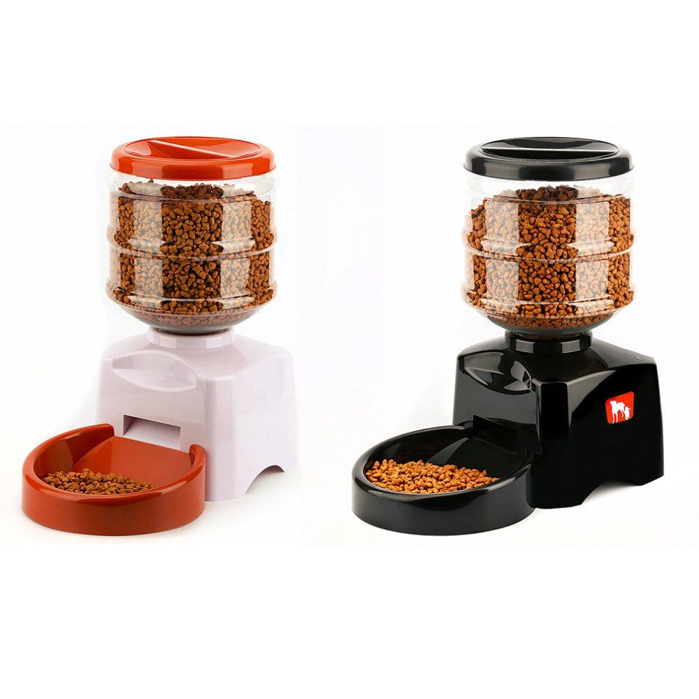 5.5L Automatic Pet Feeder with Voice Message Recording and LCD Screen Large <font><b>Smart</b></font> Dogs Cats Food Bowl Dispenser Pet Products
