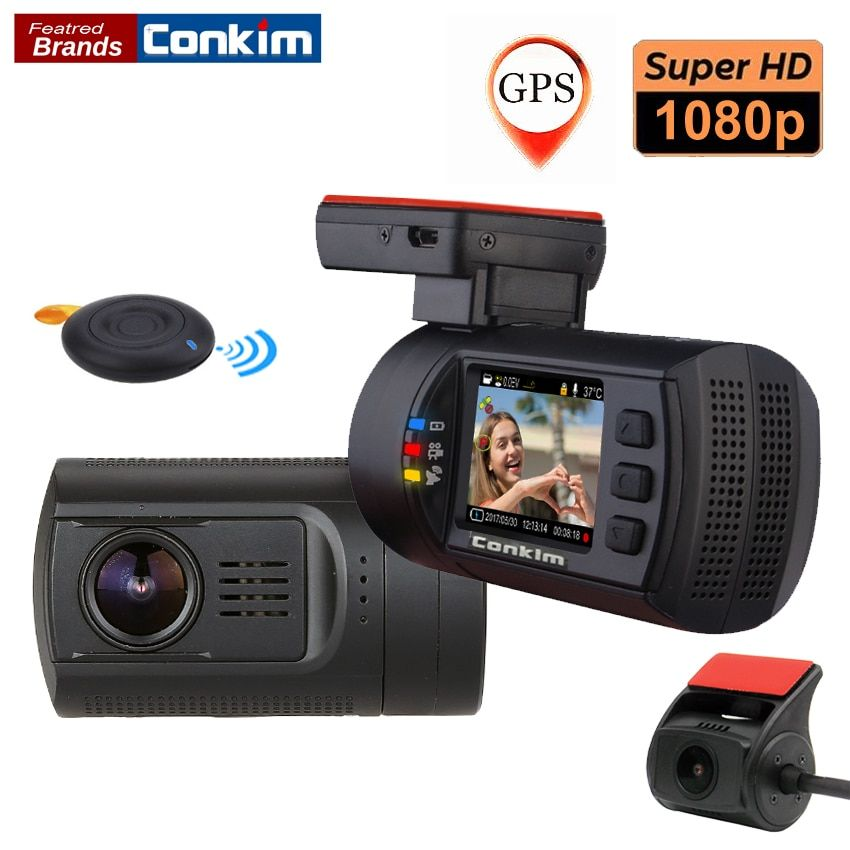 Conkim Dual Lens Car Dash Camera GPS DVR Front 1080P FHD+Rear Camera 1080P FHD Parking Guard Motion Detect Mini 0906 Novatek Cam