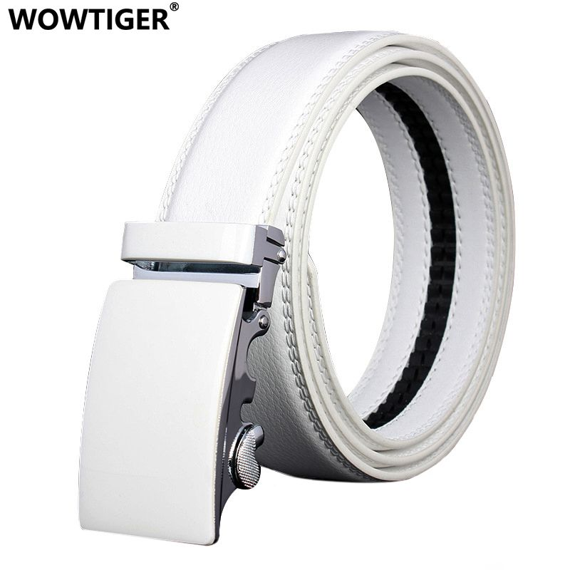 WOWTIGER Mens Fashion Automatic Buckle Leather Luxury Man cinturones <font><b>hombre</b></font> Black white Belt Alloy buckle Belts for Men