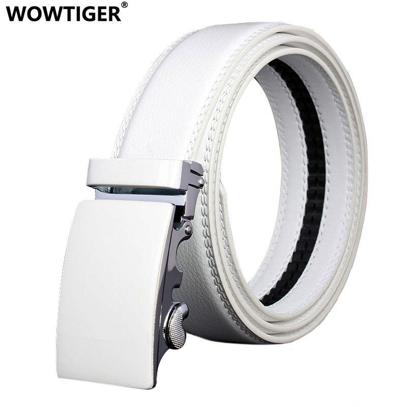 WOWTIGER hommes mode automatique boucle en cuir de luxe homme cinturones hombre noir blanc ceinture alliage boucle ceintures pour hommes