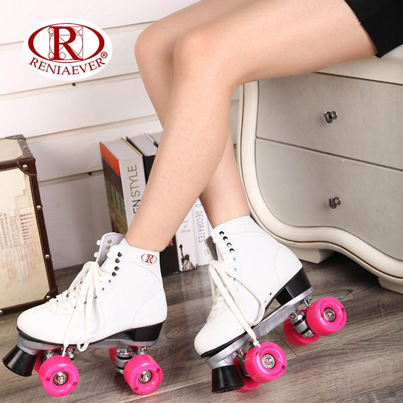 RENIAEVER Roller Skates Double Line Skates White Women Female Lady Adult With Pink PU 4 Wheels Two line Skating Shoes Patines