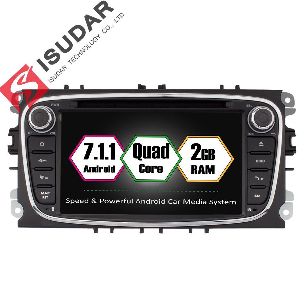 Android 7.1.1 два DIN 7 дюймов dvd-плеер автомобиля для Ford Focus/S-MAX/Mondeo/ c-Max/Galaxy Оперативная память 2 г WI-FI GPS навигации Радио