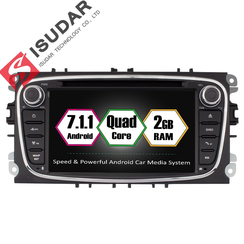 Isudar Car Multimedia Player Android 7.1.1 GPS 2 Din Car DVD Player  For FORD/Focus/S-MAX/Mondeo/C-MAX/Galaxy 2GB RAM Wifi Radio