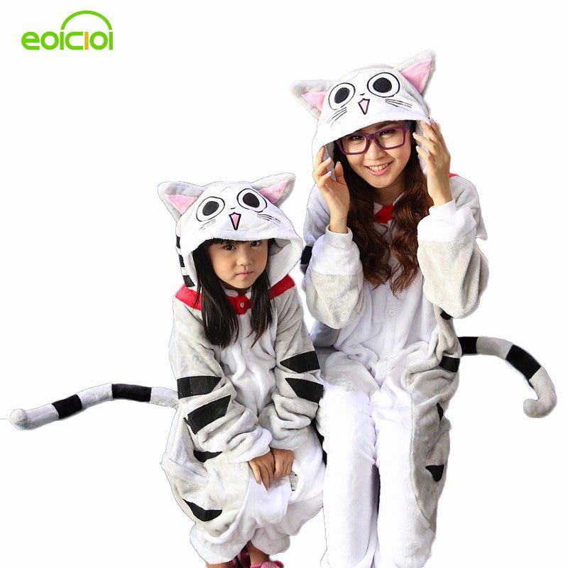 Hiver Flanelle Famille mère et enfants femelle licorne panda animaux pyjamas une pièce Fille Garçon pyjamas femme À Capuchon maison vêtements