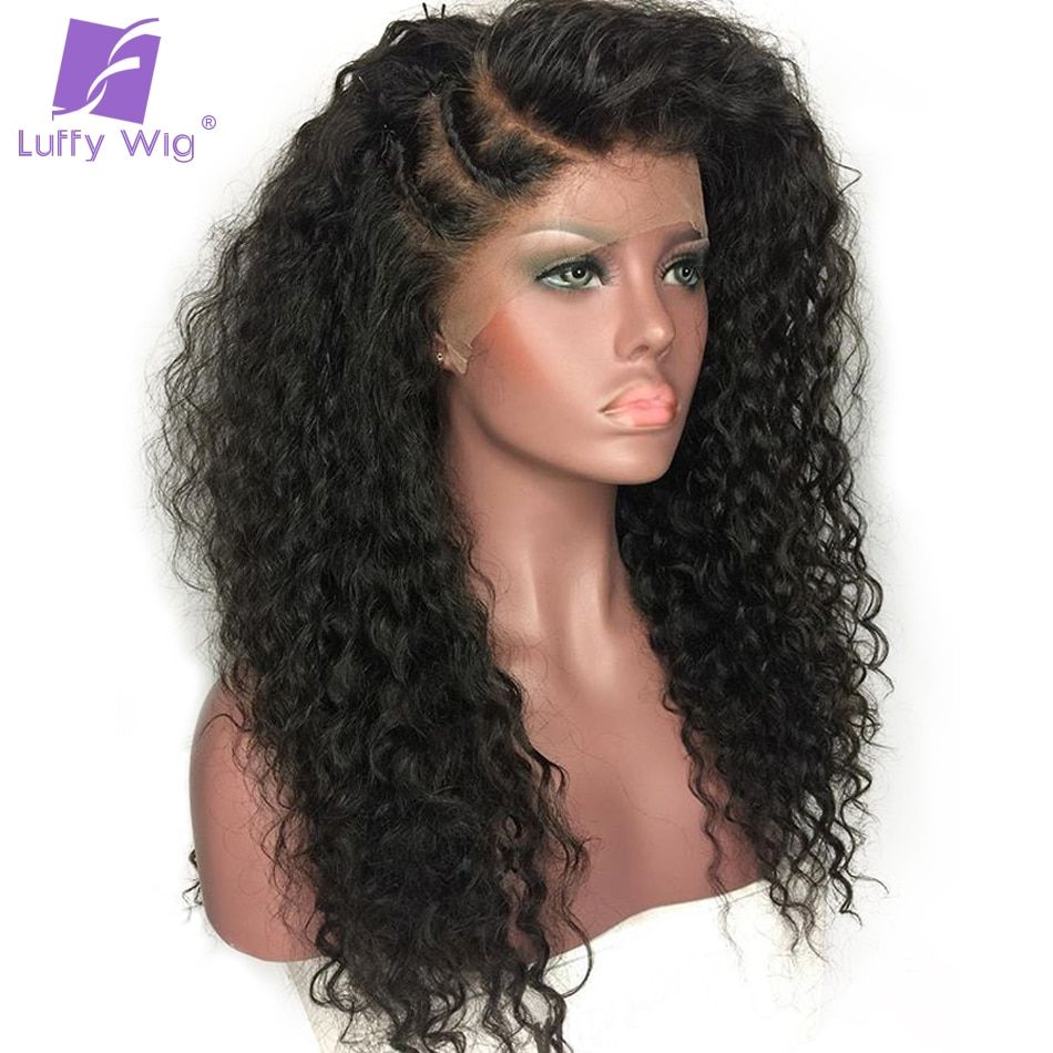 Luffy Non Remy Curly 5x4.5 Big Silk Base Full Lace Wig With Baby Hair Pre Plucked Hairline bleach knots Peruvian Human Hair Wigs