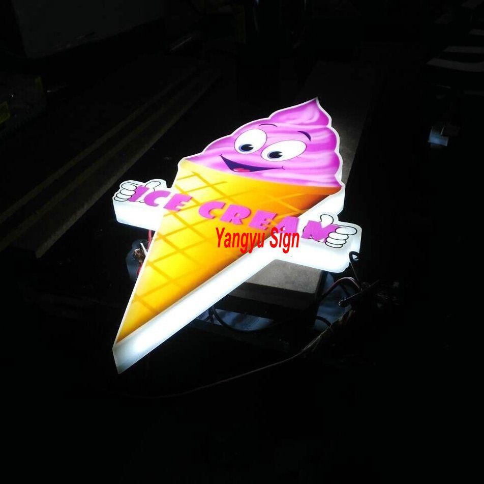 Custom outdoor-led-ice cream shop zeichen 3D licht box zeichen buchstaben