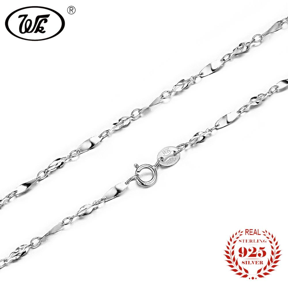 WK NEW Arrival Pure 925 Silver Chain Woman Ladies Girls S925 Twisted Neck Chains Jewellery 40CM 45CM Mujer Collares W7 NA023