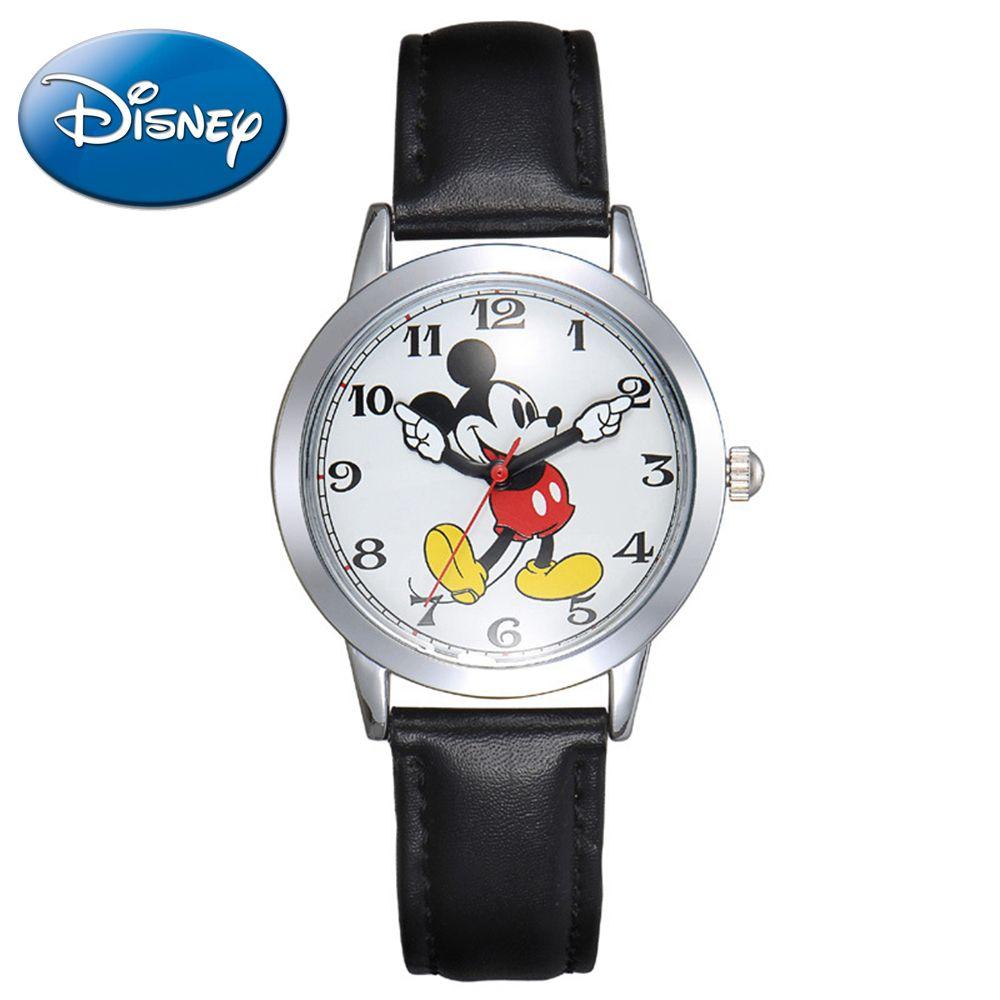 Original Disney Women Quartz Round Watch Authentic Mickey 11027 Cutie Girl Boy Love Clock Ladies Leather Band Watches Best Gift