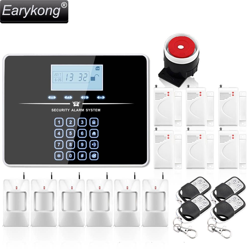 DHL Free Shipping ! English Russian Voice Wireless GSM Alarm System Home Burglar Security Touch Keyboard Alarm