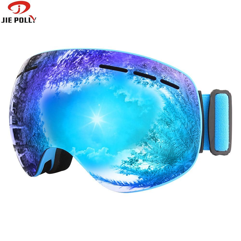 Magnet Ski Goggles jiepolly Brand Anti-fog spherical big Skiing Mask Face Glasses Snowboard Skating Goggles for Men women