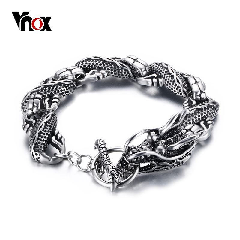 Vnox Vintage Dragon Bracelet Stainless Steel Chain Punk Men Jewelry 8.3