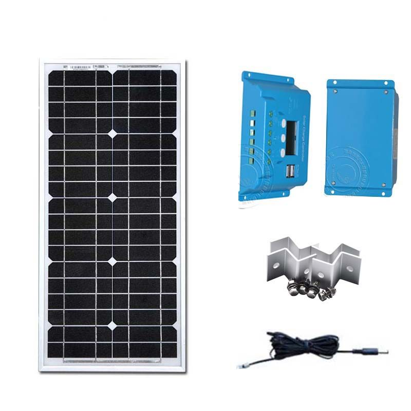 Solar Energy Kit 12v 20w Solar Battery Chargeur SolaireSolar Charge Controller 12v/24v 10A PWM Solar Phone Charger Camp Car