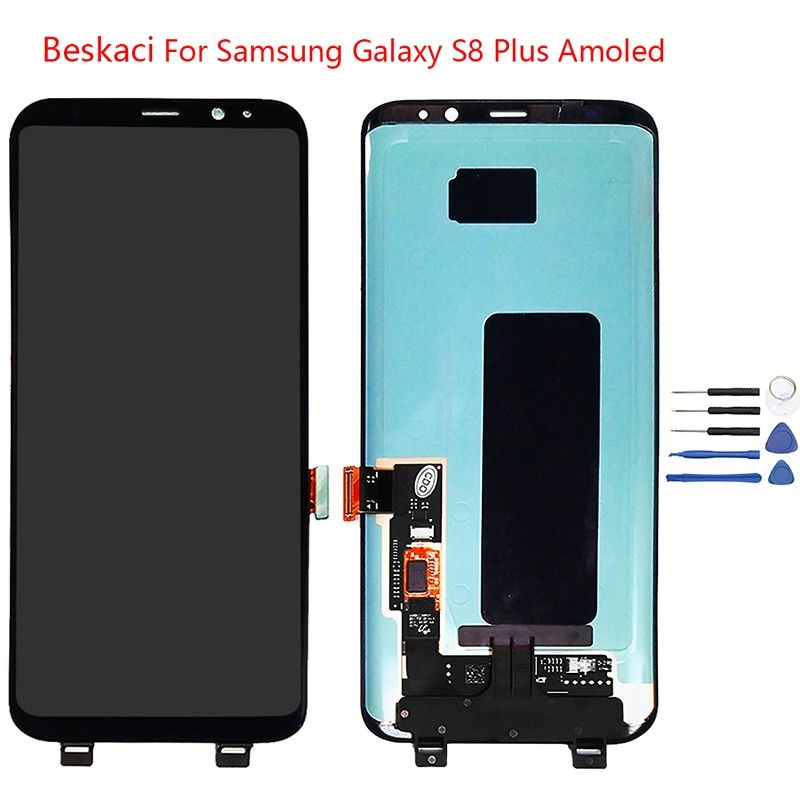 Beskaci Super Amoled For Samsung Galaxy S8 Plus G955 G955F Screen Replacement LCD Display Touch Panel With Frame Assembly