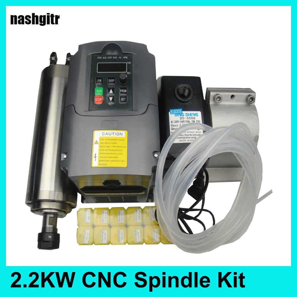 CNC Spindel 2.2KW kit + 2.2KW spindel motor inverter VFD + wasser pumpe + ER20 spindel spannzangen + wasser pumpe + 80mm spindel klemme