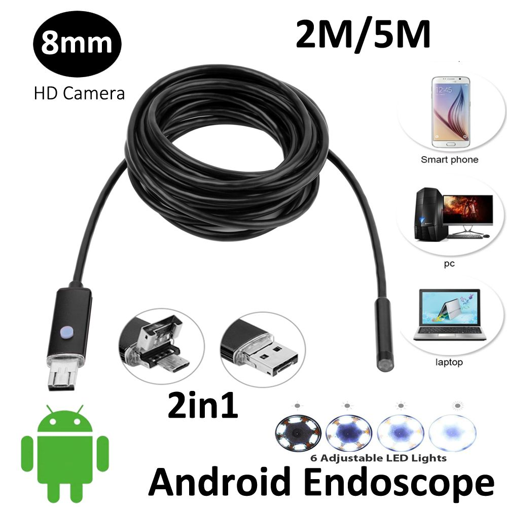 2In1 AN99 2MP 5 M 2 M Android USB Endoscope HD Caméra 8mm IP67 Walterproof Serpent USB Caméra HD720P Android Mobile USB endoscope