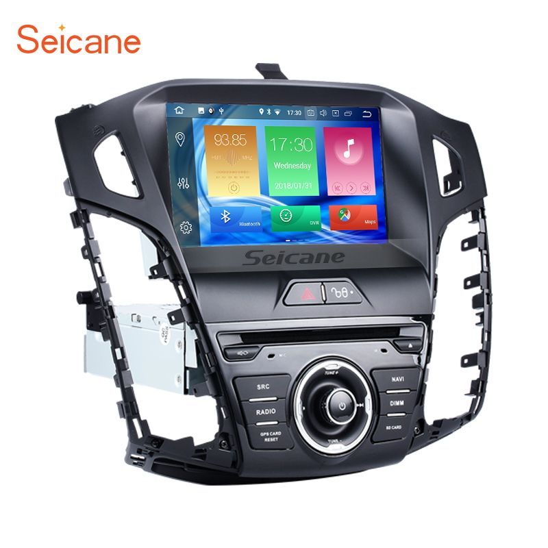 Seicane 8 inch HD 1024*600 Android 8.0 4G Ram+32G Rom Car Radio Auto Stereo GPS Navigation Player for 2011-2013 Ford focus