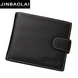 JINBAOLAI hombres carteras de cuero sólido estilo muestra cremallera tarjeta monedero hombre Horder cuero famoso marca de alta calidad billetera masculina