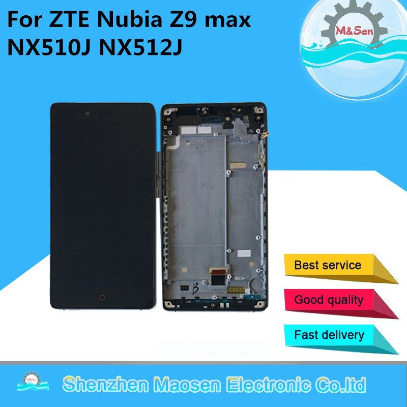 M&Sen For ZTE Nubia Z9 max NX510J NX512J LCD screen display+touch digitizer with frame black free shipping