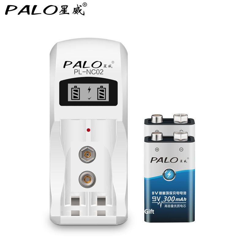2 emplacements AA AAA 9 v chargeur de batterie pour nimh nicd batterie + 2*9 V nimh 300 mah batterie rechargeable