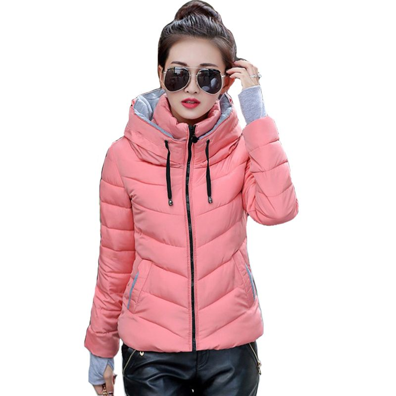2018 hooded women winter jacket short cotton padded womens coat autumn casaco <font><b>feminino</b></font> inverno solid color parka stand collar