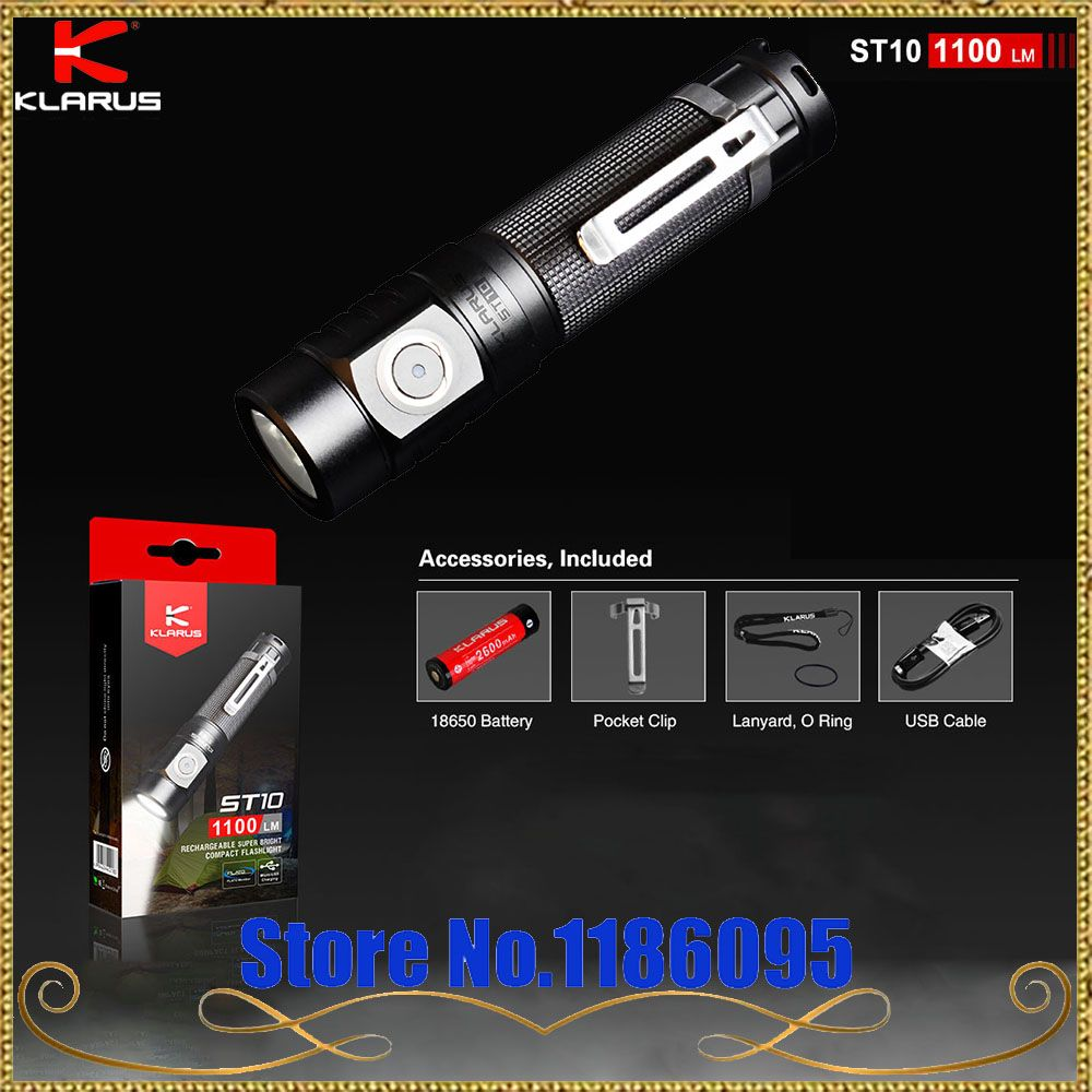 Newest KLARUS ST10 CREE XM-L2 U2 LED 1100 Lumen Rechargeable Super Bright Compact Flashlight by 2600mAh 18650 Li-ion batteries