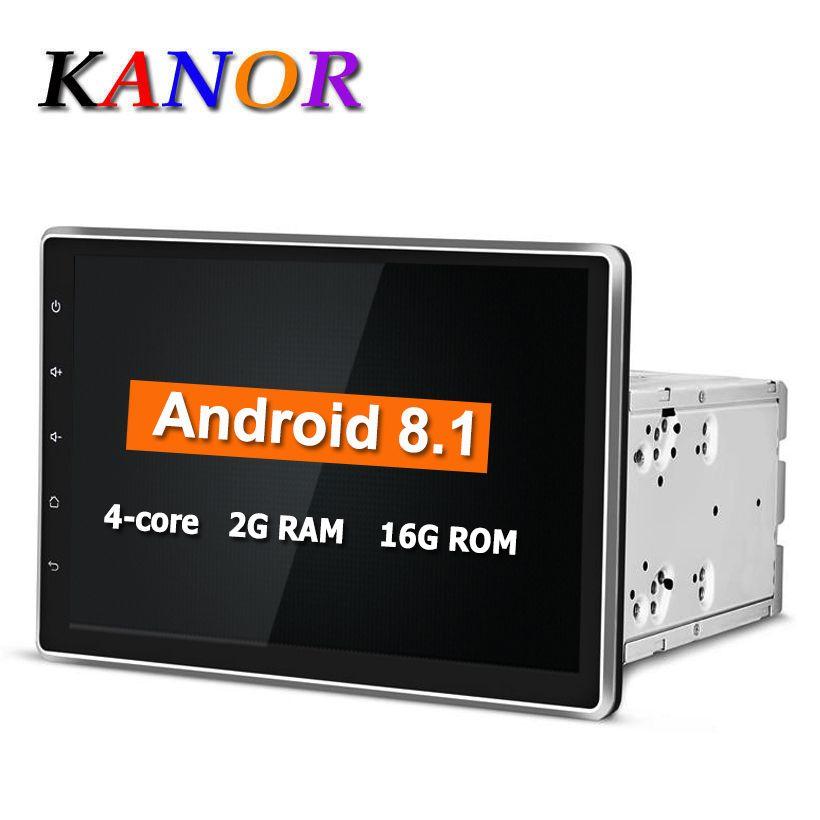 KANOR Android 8.1 1024*600 Quad Core 10.1 pouces Double 2Din gps dvd auto Lecteur Bluetooth Stéréo Sat Nav RDS USB WIFI Multimédia