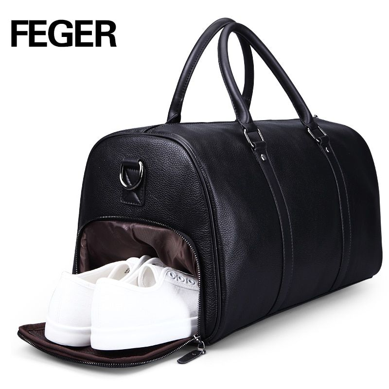 FEGER brand fashion extra large weekend duffel bag big genuine leather business men's travel bag popular design