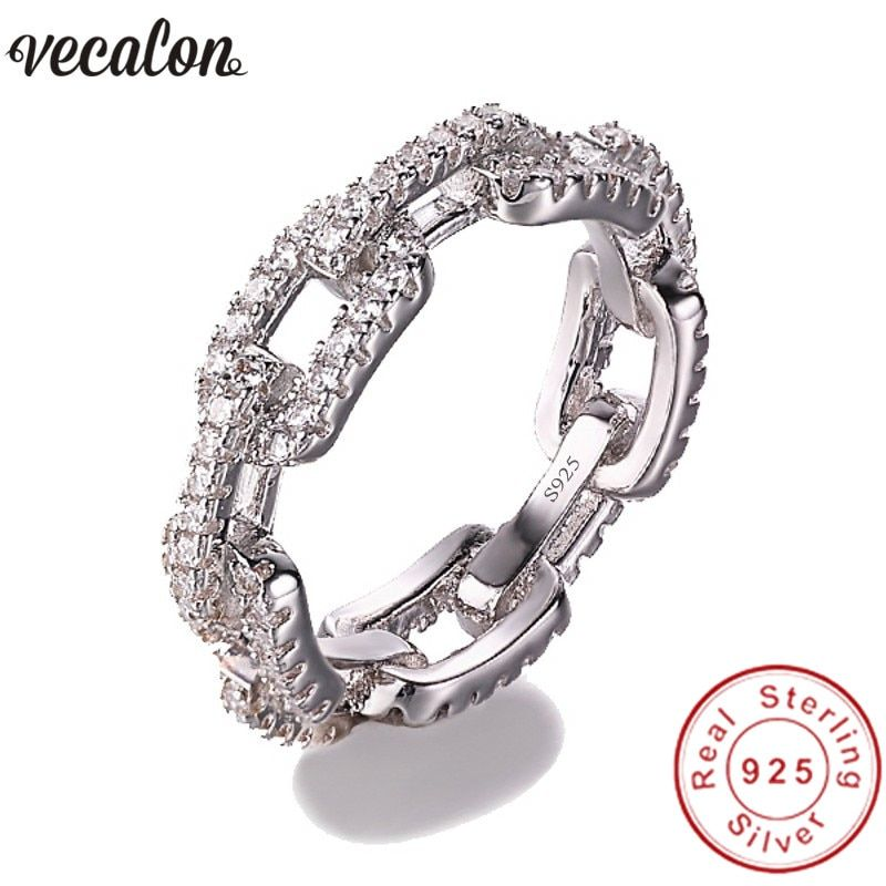 Vecalon Luxury Jewelry 100% Soild 925 Sterling Silver ring 5A Zircon Cz Chain Shape Engagement wedding Band rings for women men