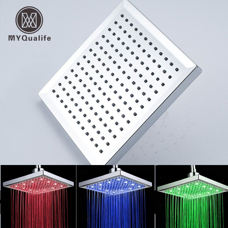 Free Shipping LED Color <font><b>Changing</b></font> Bathroom 8 Square Rain Bathroom Shower Head Chrome Finish