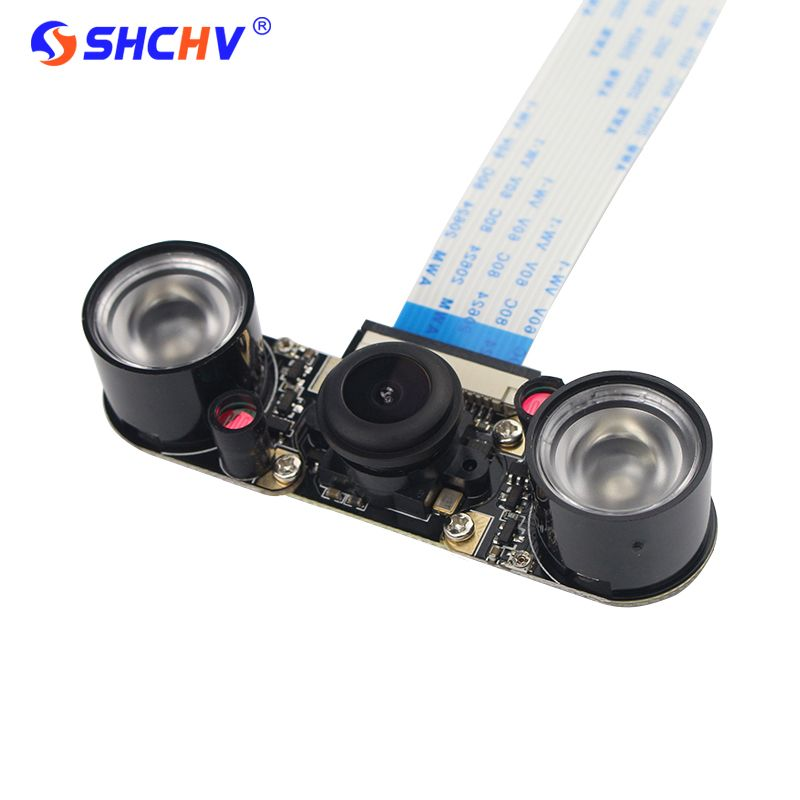 Raspberry Pi 3 Nuit Vision Caméra Grand Angle Fisheye 5 M Pixel 1080 P Caméra + 2 Infrarouge IR LED Lumière Livraison gratuite