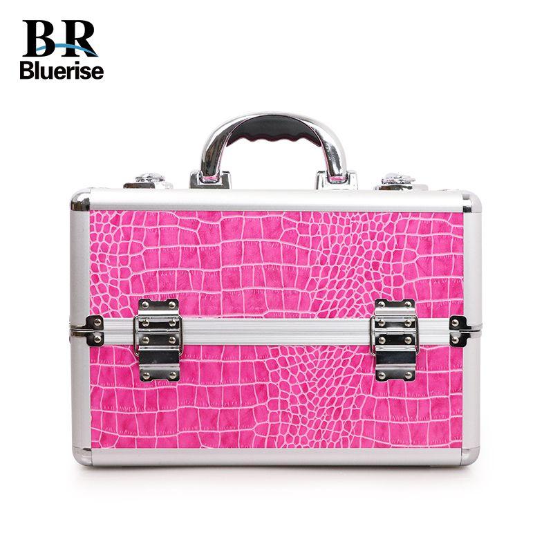 Beauty Box Professional Multi Tiers Nail Beauty Maekup Tool Storage Box Aluminum PU Hot Pink Crocodile Cosmetic Bags Portable