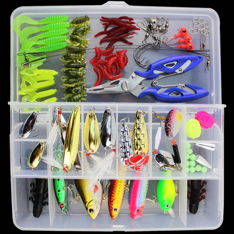 101pcs Lure Kit Set Spinner Crankbait Minnow Popper VIB Soft Hard Spoon Crank Baits Fishing Hooks Plier Fishing Tackle Box
