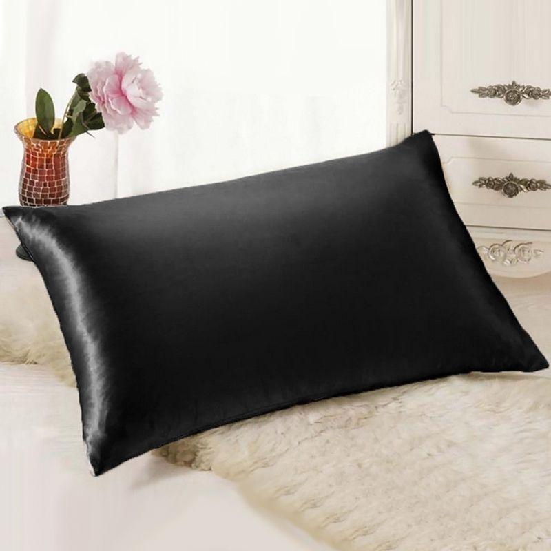 Pure émulation taie d'oreiller en soie satin unique taie d'oreiller 5 couleur disponible moderne Simple taie d'oreiller pour la maison chambre lit outils 1392