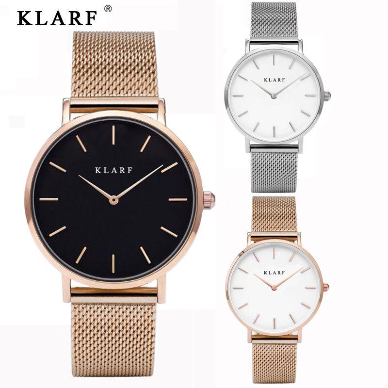 Marca de lujo KLARF Cuarzo Mujeres Del Reloj de Oro Reloj de Pulsera de Acero 30 M impermeable Rhinestone Señoras Vestido Reloj relogio feminino