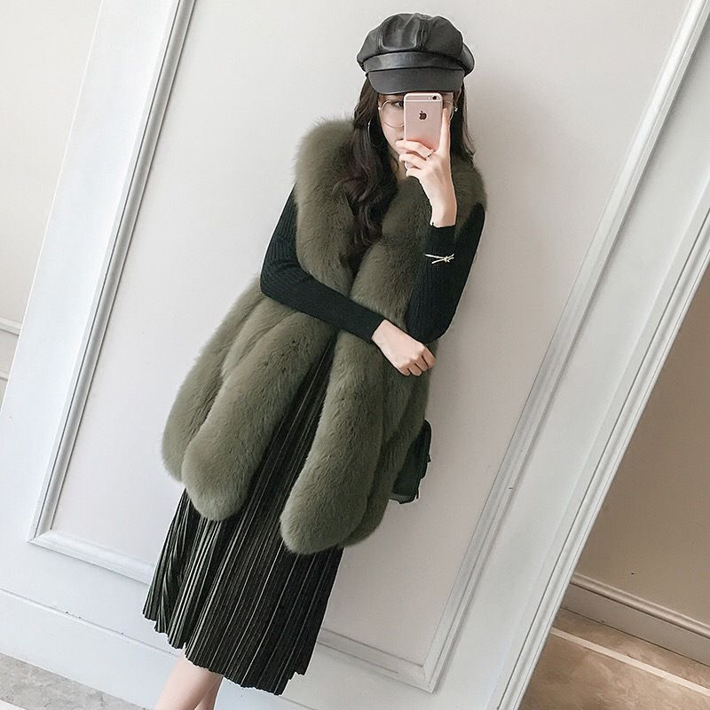 2018 new large drop fox fur vest real fur coat girls long fur vest Fox Fashion atmosphere