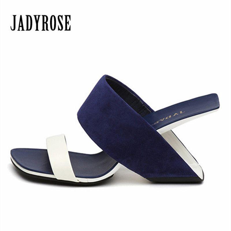 Jady Rose 2018 Nouvelles Femmes Sandales Étrange Talon Stiletto Été Pantoufles À Talons Hauts Gladiateur Sandales Compensées Chaussures Femme Plage Diapositives