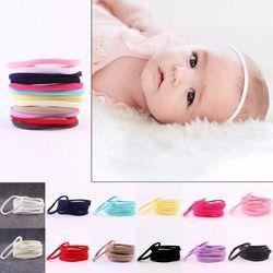 10 pcs/lot Anak Spandex Nilon Nilon Headband Gadis Headband Elastis Kurus Anak Hairband Headwear DIY Aksesoris Rambut