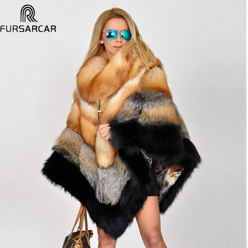 FURSARCAR New Winter Women Real Fur Cape With Fur Collar Natural Fox Poncho Genuine Luxury Real Fur Coat